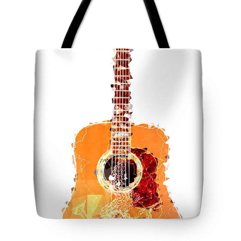 Flashy Guitar Tote Bag featuring the digital art Flashy Guitar by Celestial Images