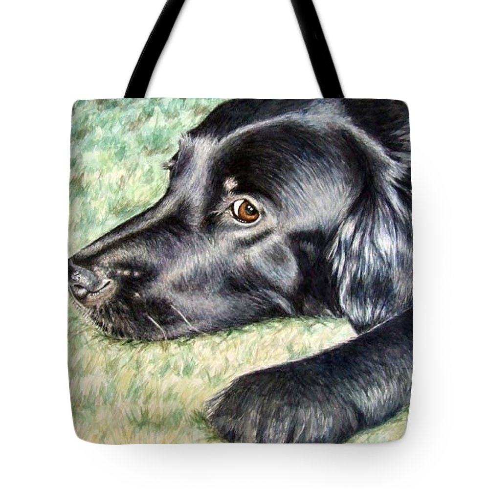 Dog Tote Bag featuring the painting Flat Coated Retriever by Nicole Zeug