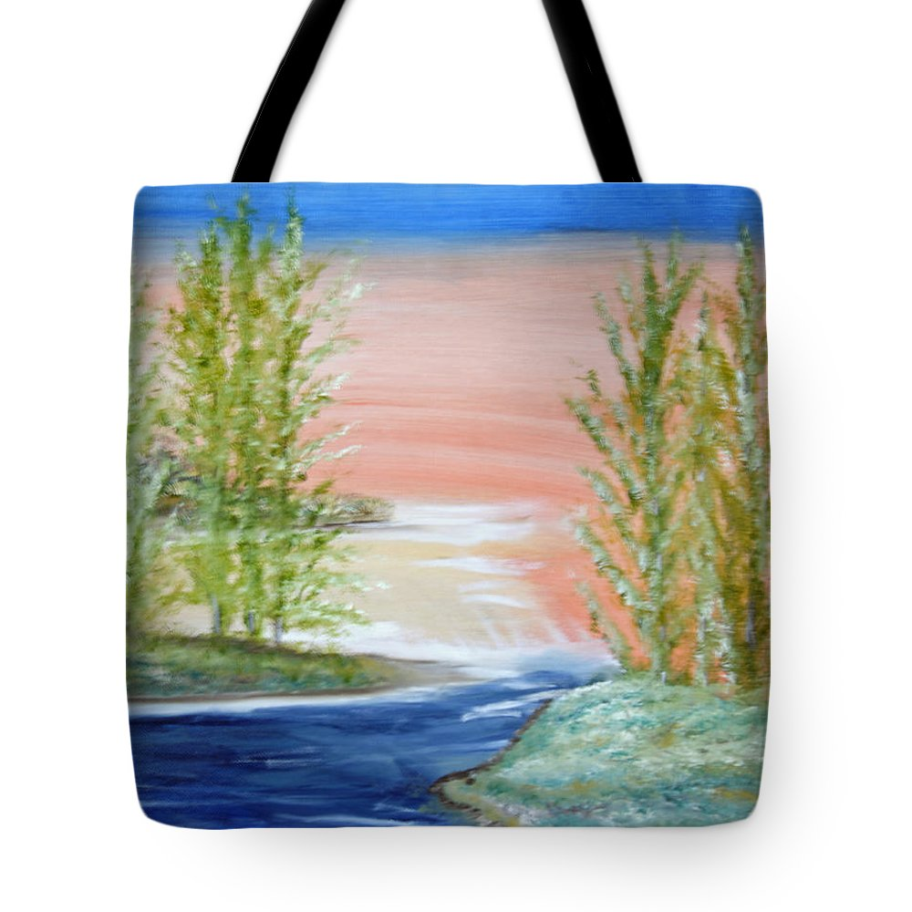 Flathead Tote Bag featuring the painting Flathead Lake Sunset by Suzanne Surber