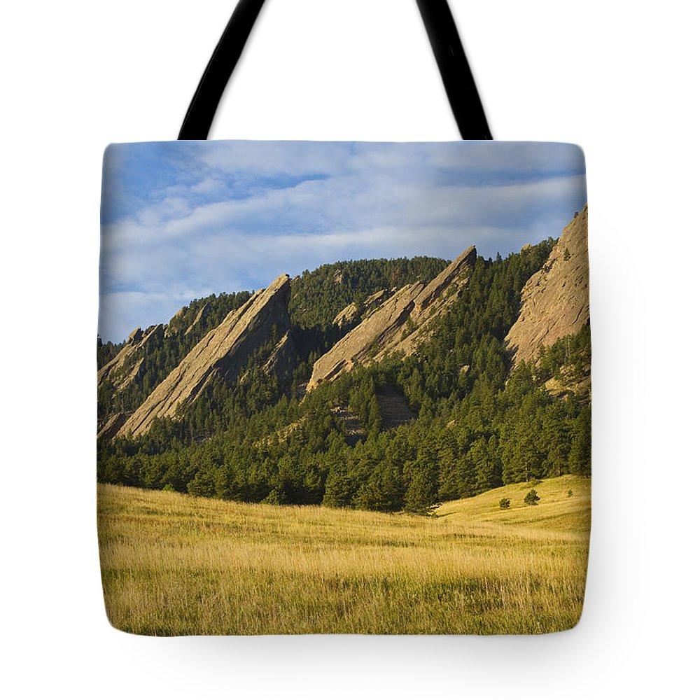 Boulder Photos Tote Bag featuring the photograph Flatiron Morning Light Boulder Colorado by James BO Insogna