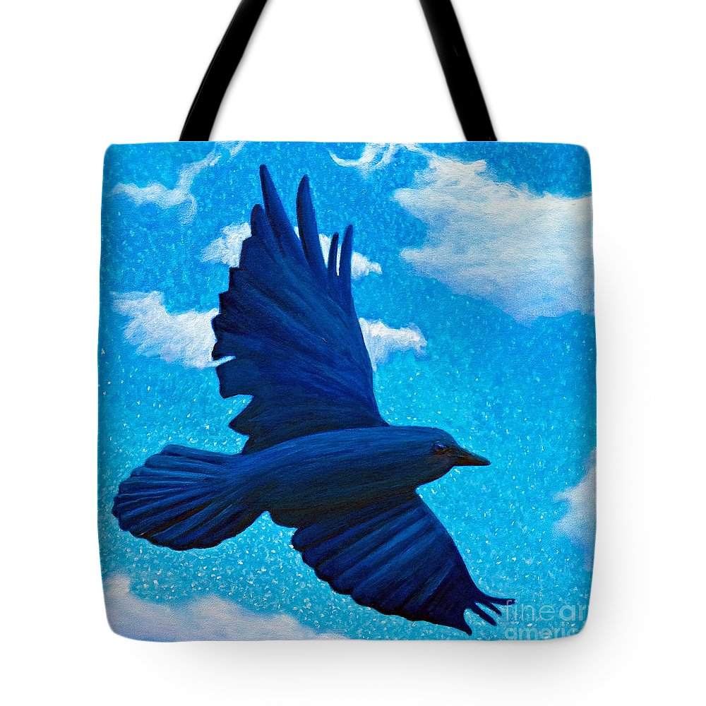Raven Tote Bag featuring the painting Flight by Brian Commerford