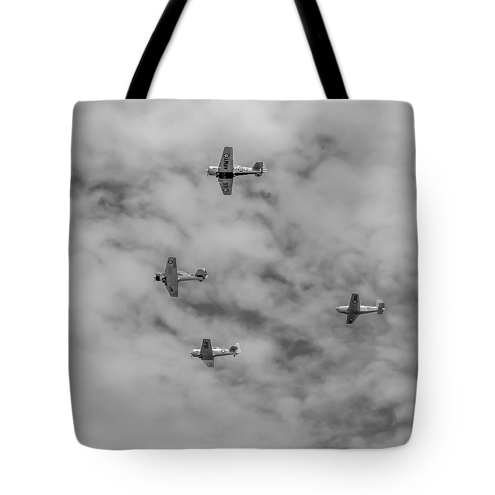 Aviation Tote Bag featuring the photograph Flight Of Four by Guy Whiteley