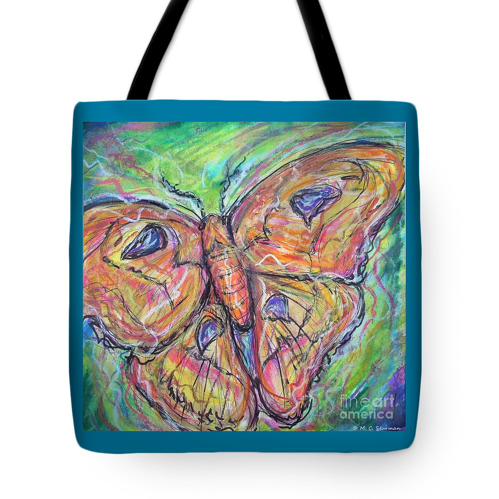 Moth Tote Bag featuring the painting Flight Of The Moth by M c Sturman
