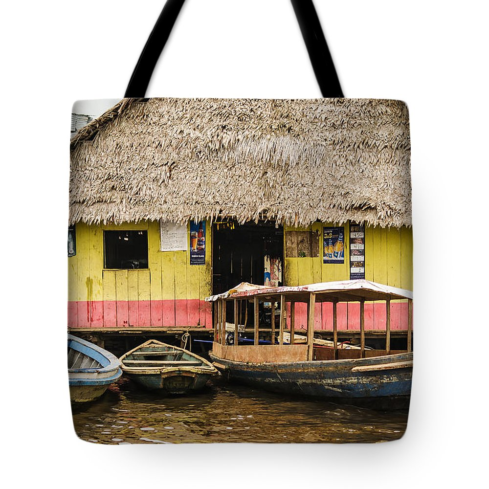 Peru Tote Bag featuring the photograph Floating Bar In Shanty Town by Allen Sheffield