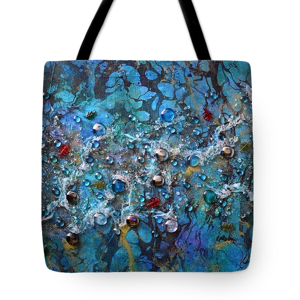 River Tote Bag featuring the mixed media Floating Down The River by Donna Blackhall