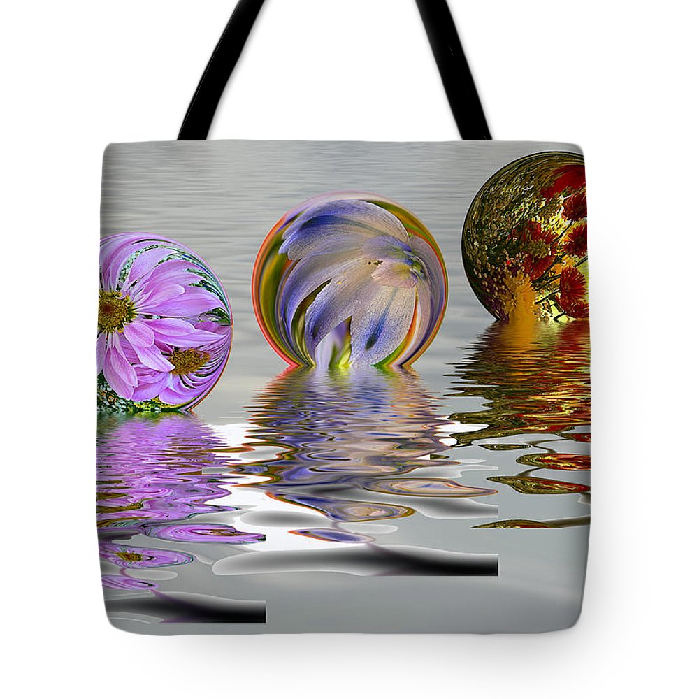 Fantasy Tote Bag featuring the photograph Floating Flowers by Maria Coulson