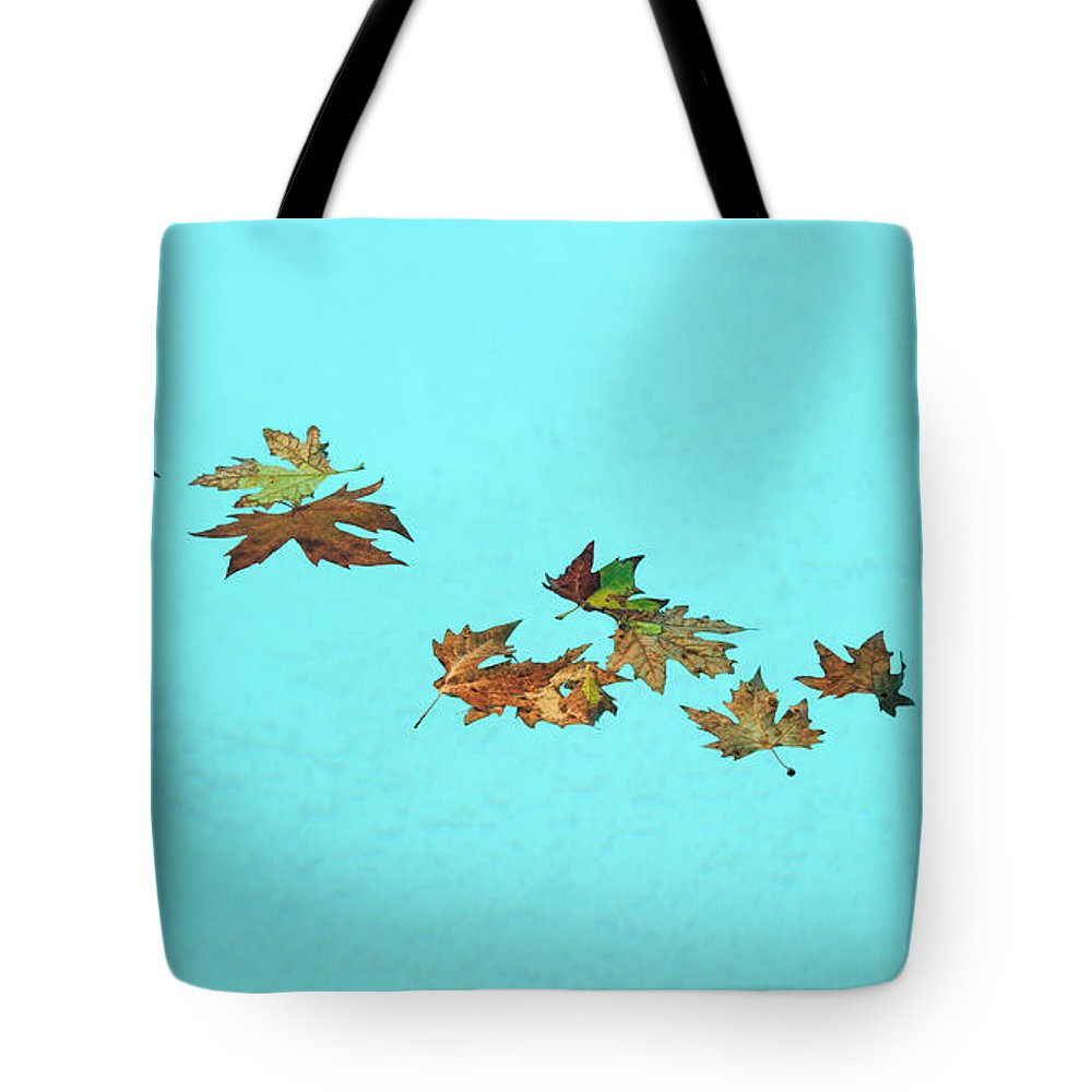 Leaf Tote Bag featuring the photograph Floating by Grigorios Moraitis