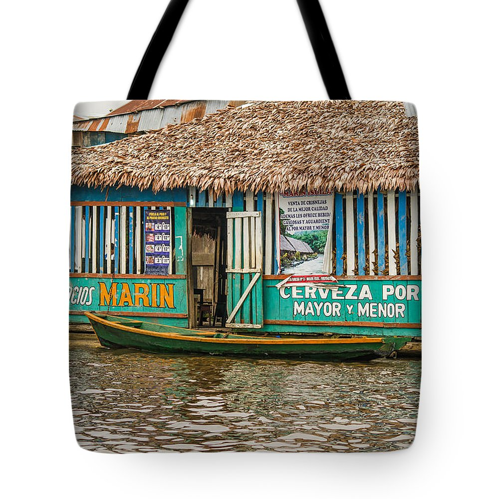 Peru Tote Bag featuring the photograph Floating Pub In Shanty Town by Allen Sheffield