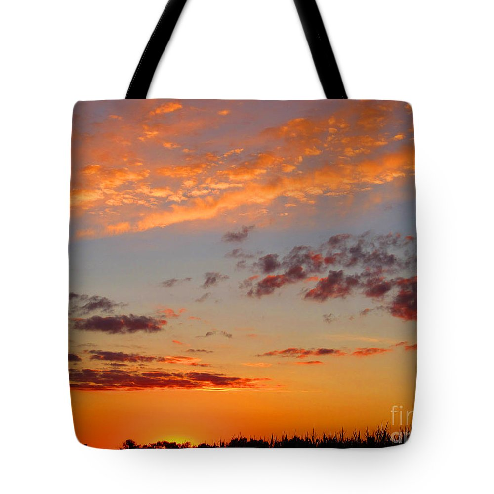 Sun Tote Bag featuring the photograph Floating Sunset by Tina M Wenger