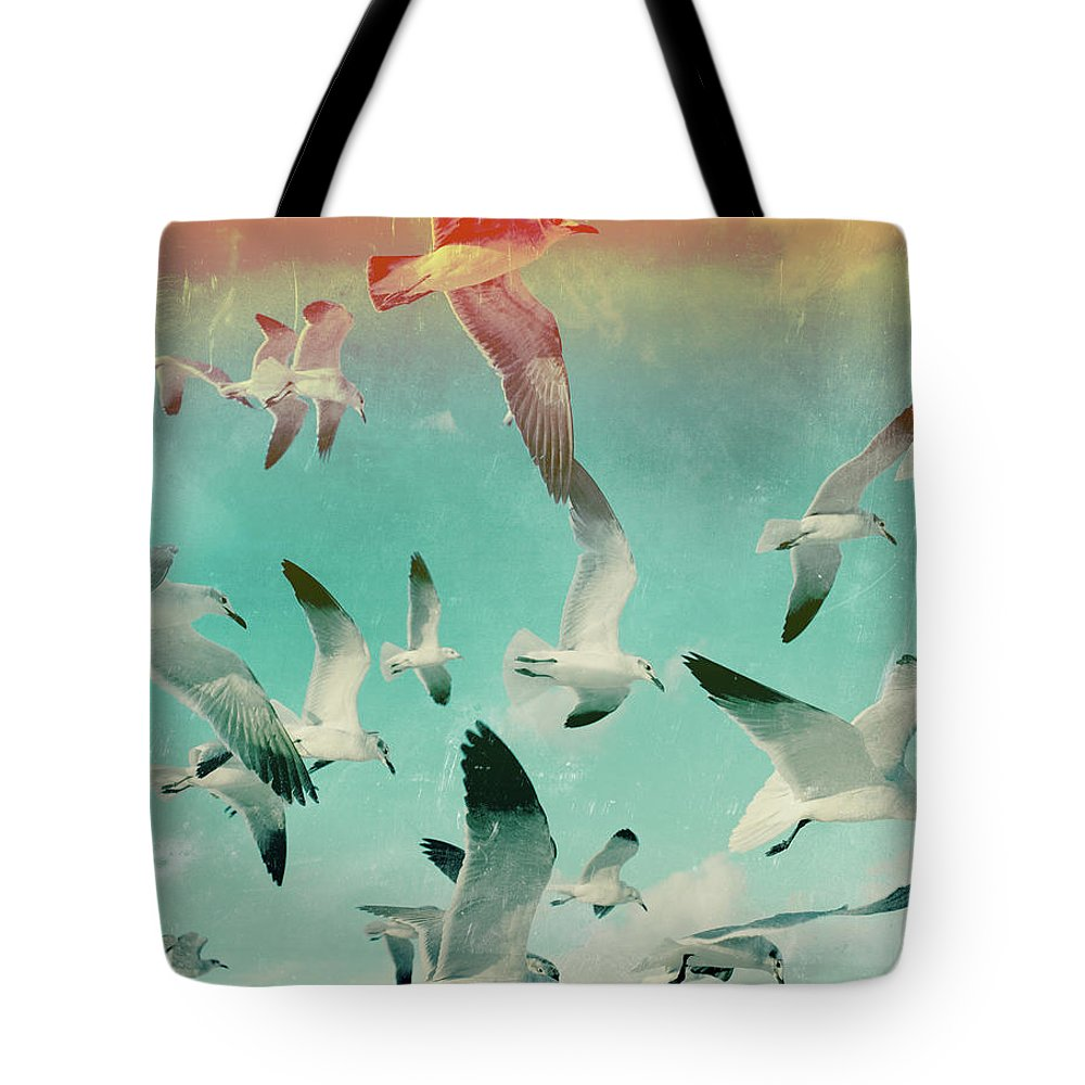 Animal Themes Tote Bag featuring the photograph Flock Of Seagulls, Miami Beach by Michael Sugrue