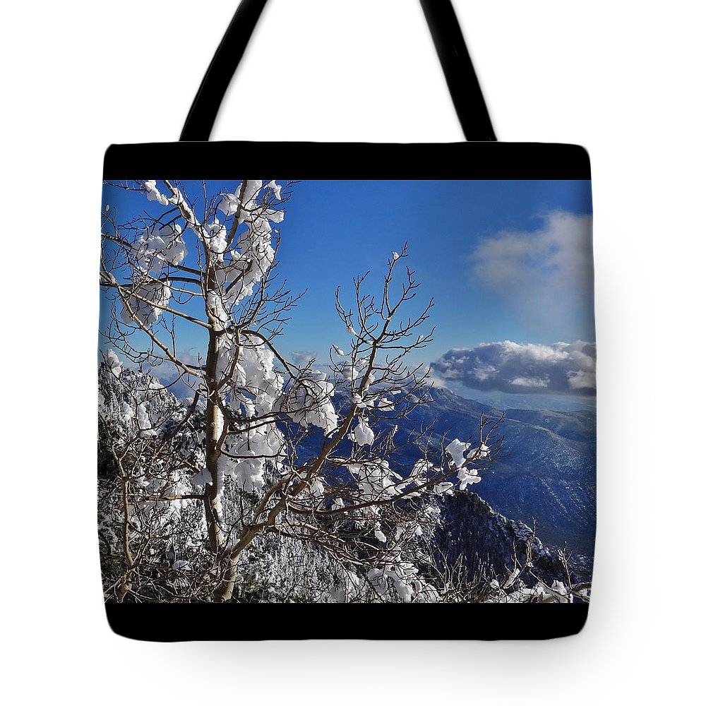 Winter Scene Tote Bag featuring the photograph Flocked Pinon by Lois  Rivera