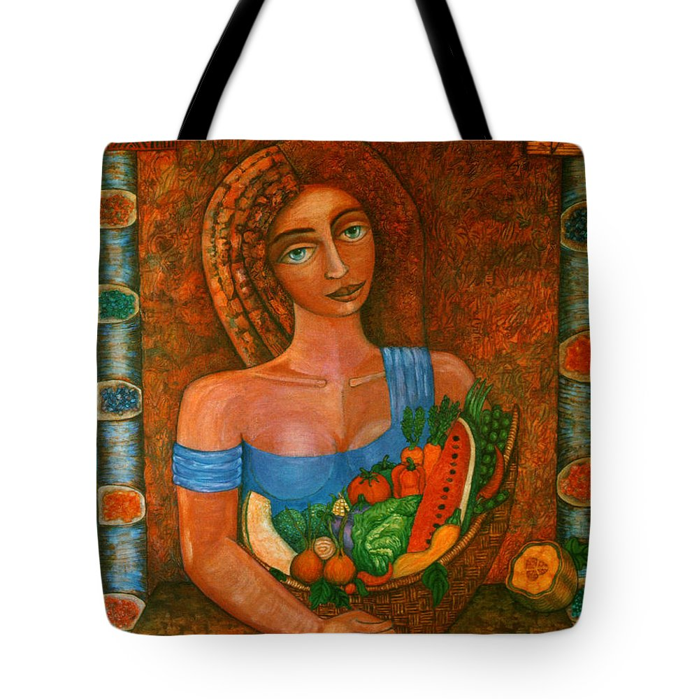 Acrylic Tote Bag featuring the painting Flora - Goddess Of The Seeds by Madalena Lobao-Tello