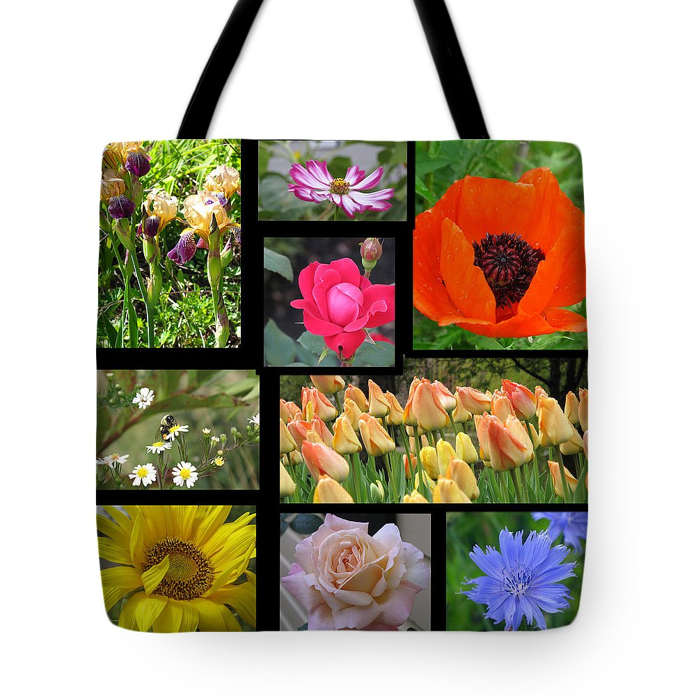 Collage Tote Bag featuring the photograph Floral Collage One by Barbara McDevitt