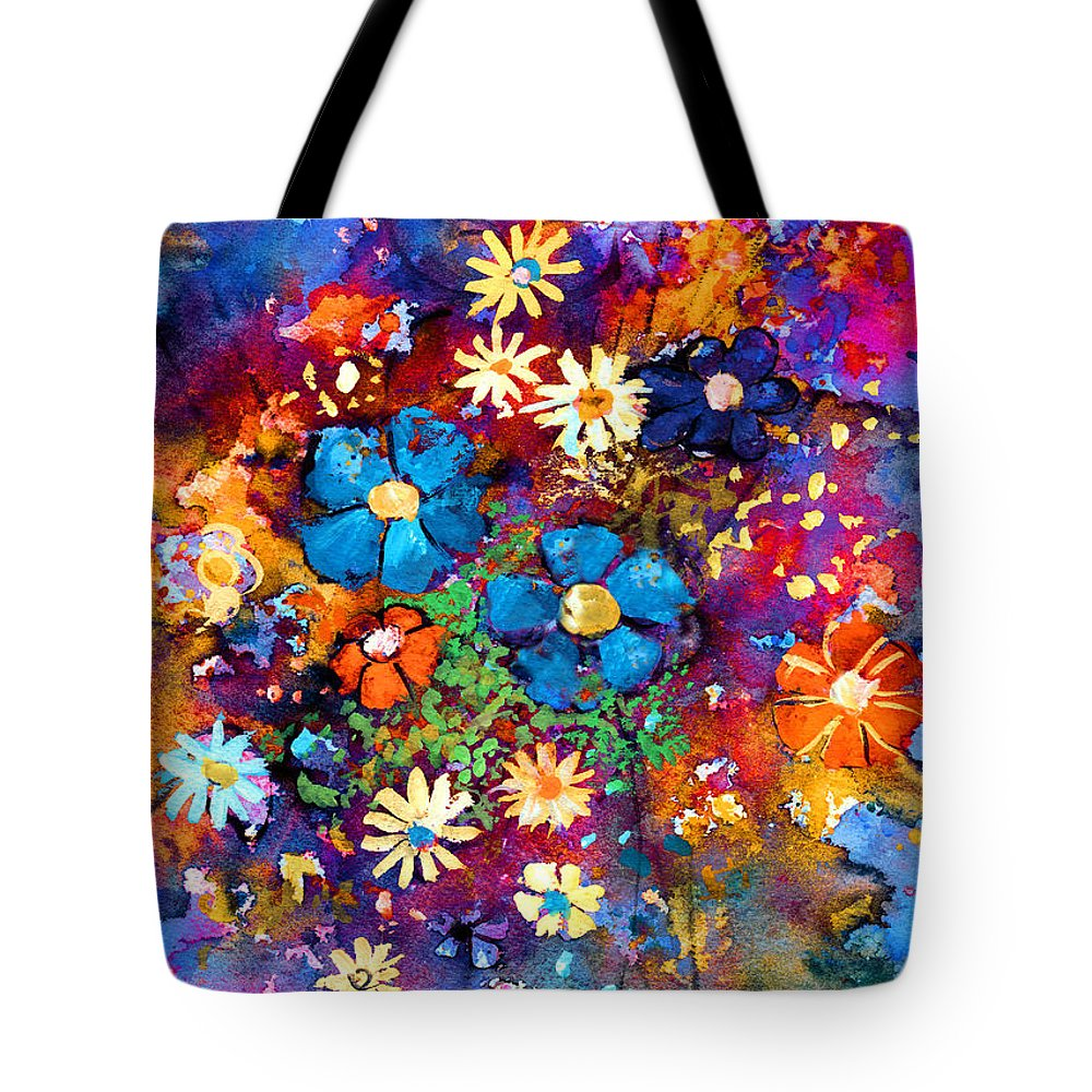 Abstract Floral Art Tote Bag featuring the painting Floral Dance Fantasy by Svetlana Novikova