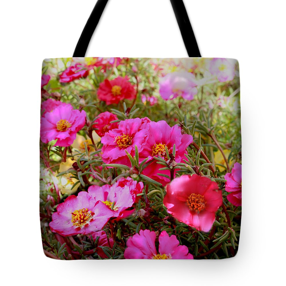 Pink Tote Bag featuring the photograph Floral Portulaca Garden by Bonnie Willis