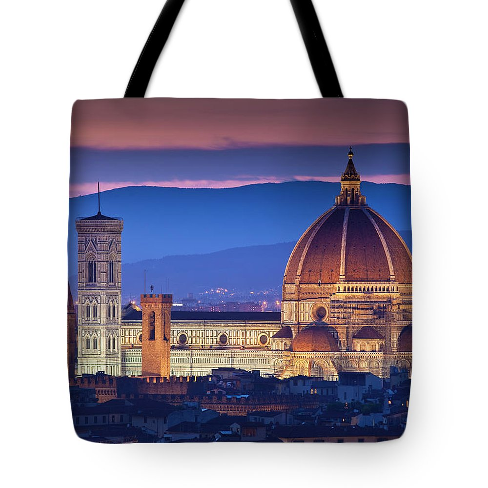 Built Structure Tote Bag featuring the photograph Florence Catherdral Duomo And City From by Richard I'anson