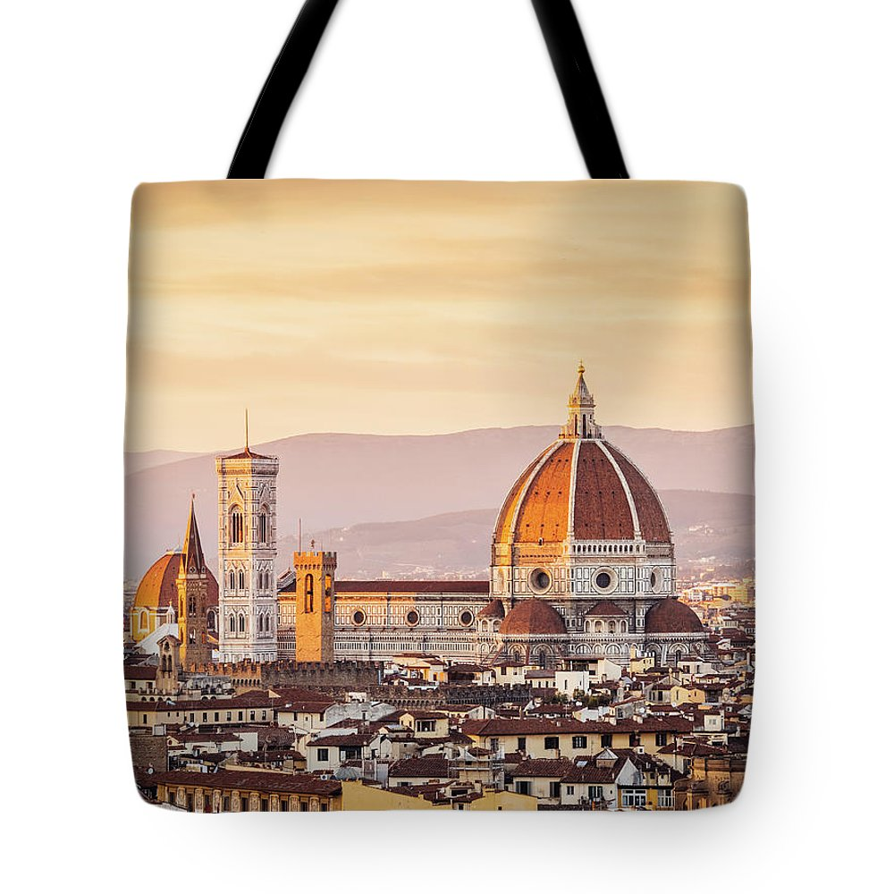 Campanile Tote Bag featuring the photograph Florences Cathedral And Skyline At by Filippobacci