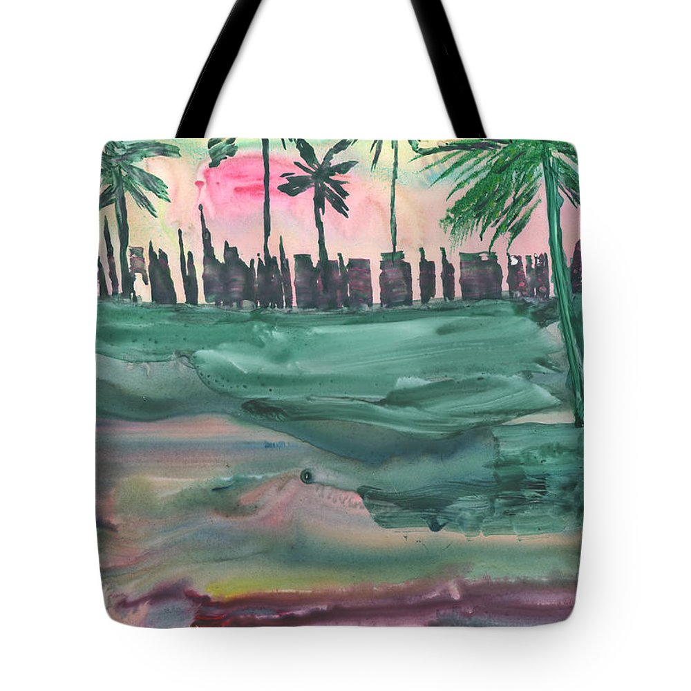 Cityscape Tote Bag featuring the painting Florida City-skyline2 by Mickey Krause