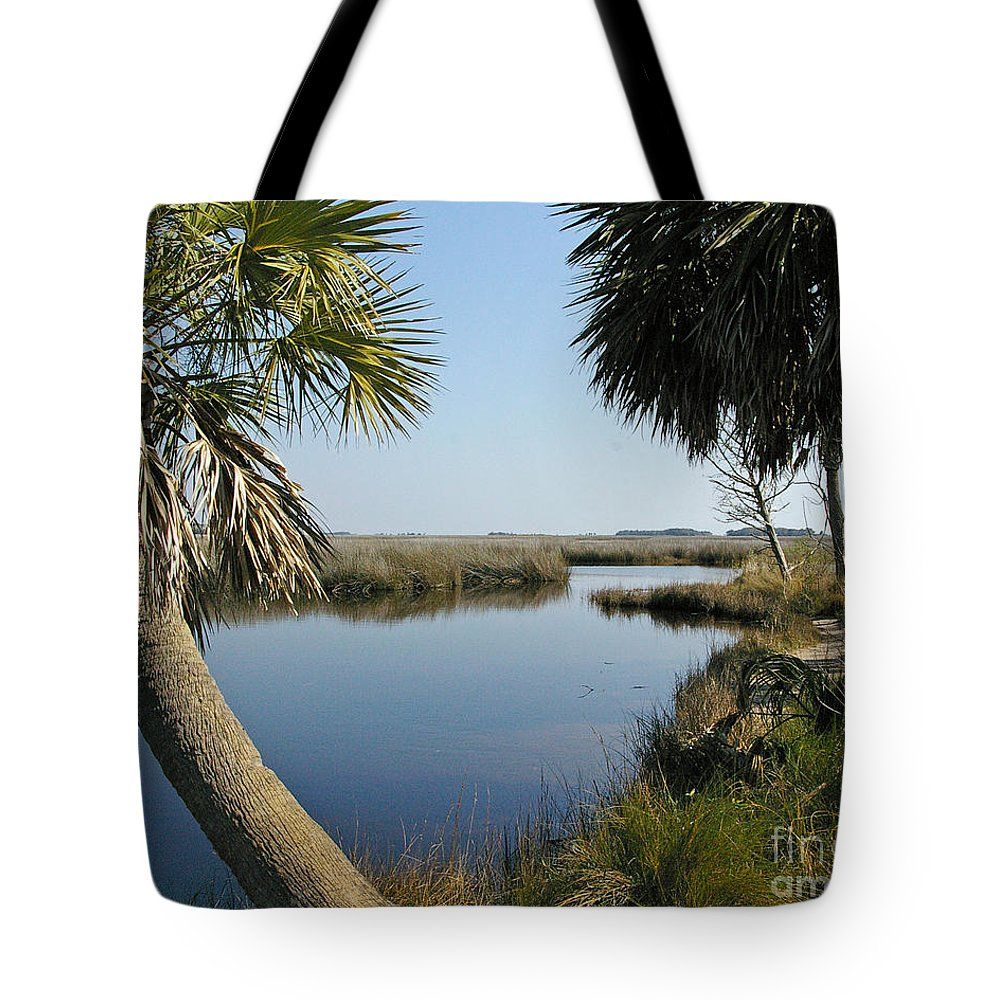 Marsh Tote Bag featuring the photograph Florida Marshland by Nancy L Marshall