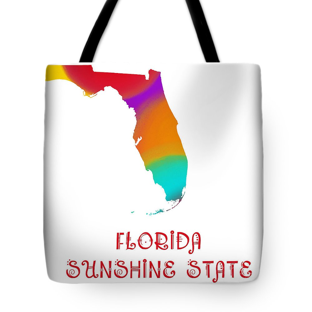 Andee Design Tote Bag featuring the digital art Florida State Map Collection 2 by Andee Design