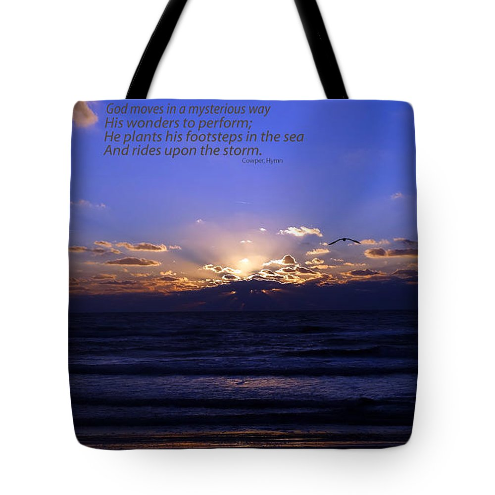 Atlantic Ocean Tote Bag featuring the photograph Florida Sunset Beyond The Ocean - Quote by Gena Weiser