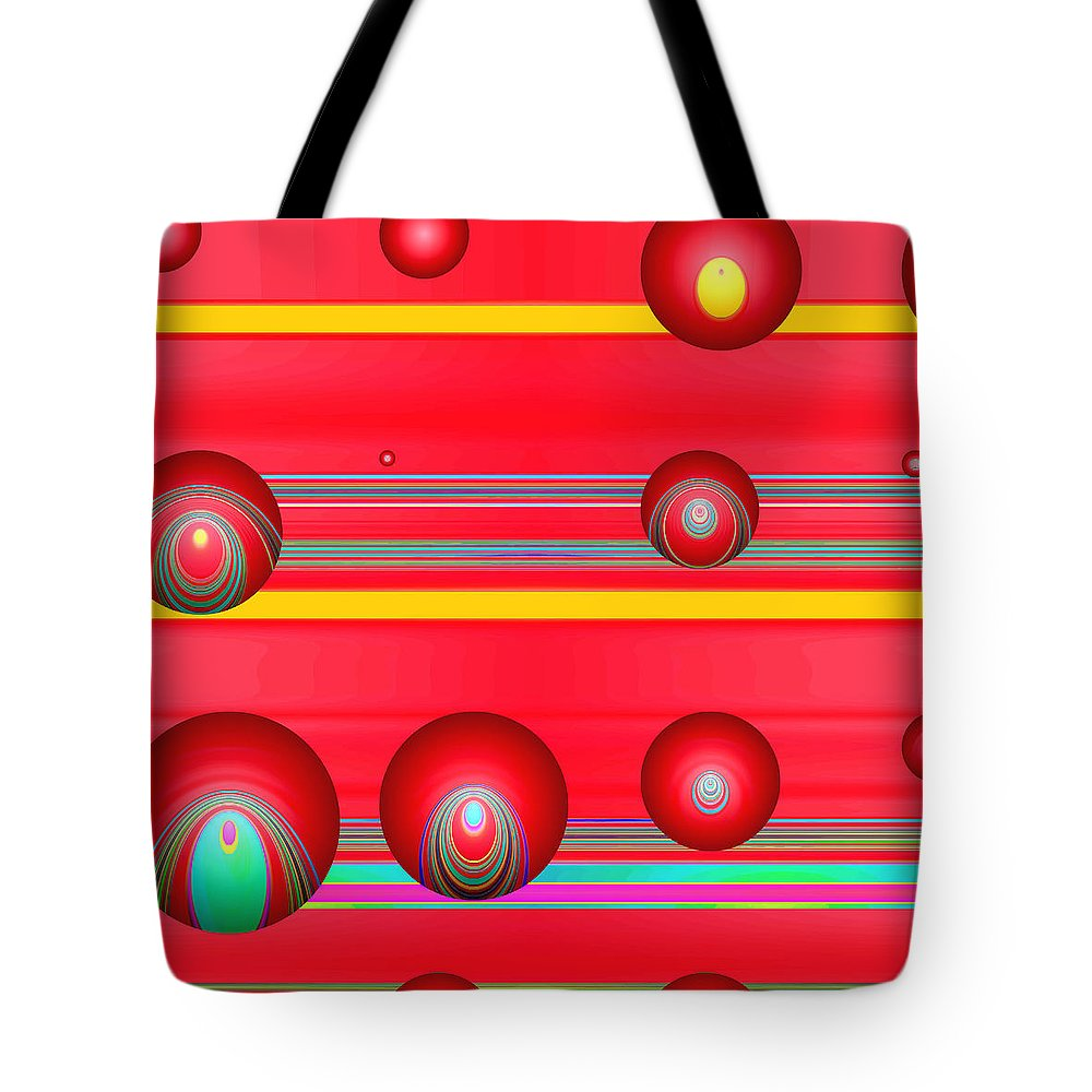Abstract Tote Bag featuring the digital art Flotation Devices - Lipstick by Wendy J St Christopher