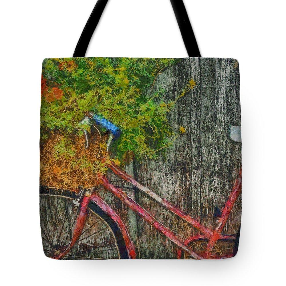 Bike Tote Bag featuring the digital art Flower Basket On A Bike by Mark Kiver
