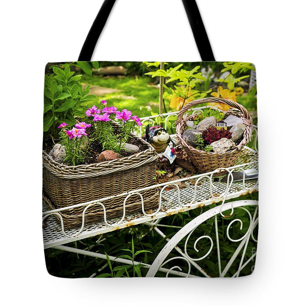 Garden Tote Bag featuring the photograph Flower Cart In Garden by Elena Elisseeva