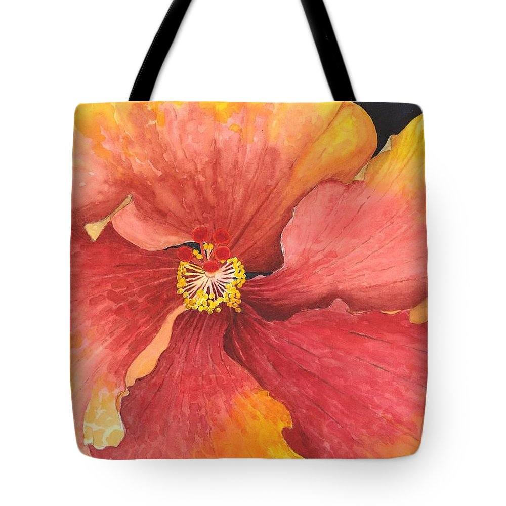 Flower Tote Bag featuring the painting Flower Face by Diann Parks