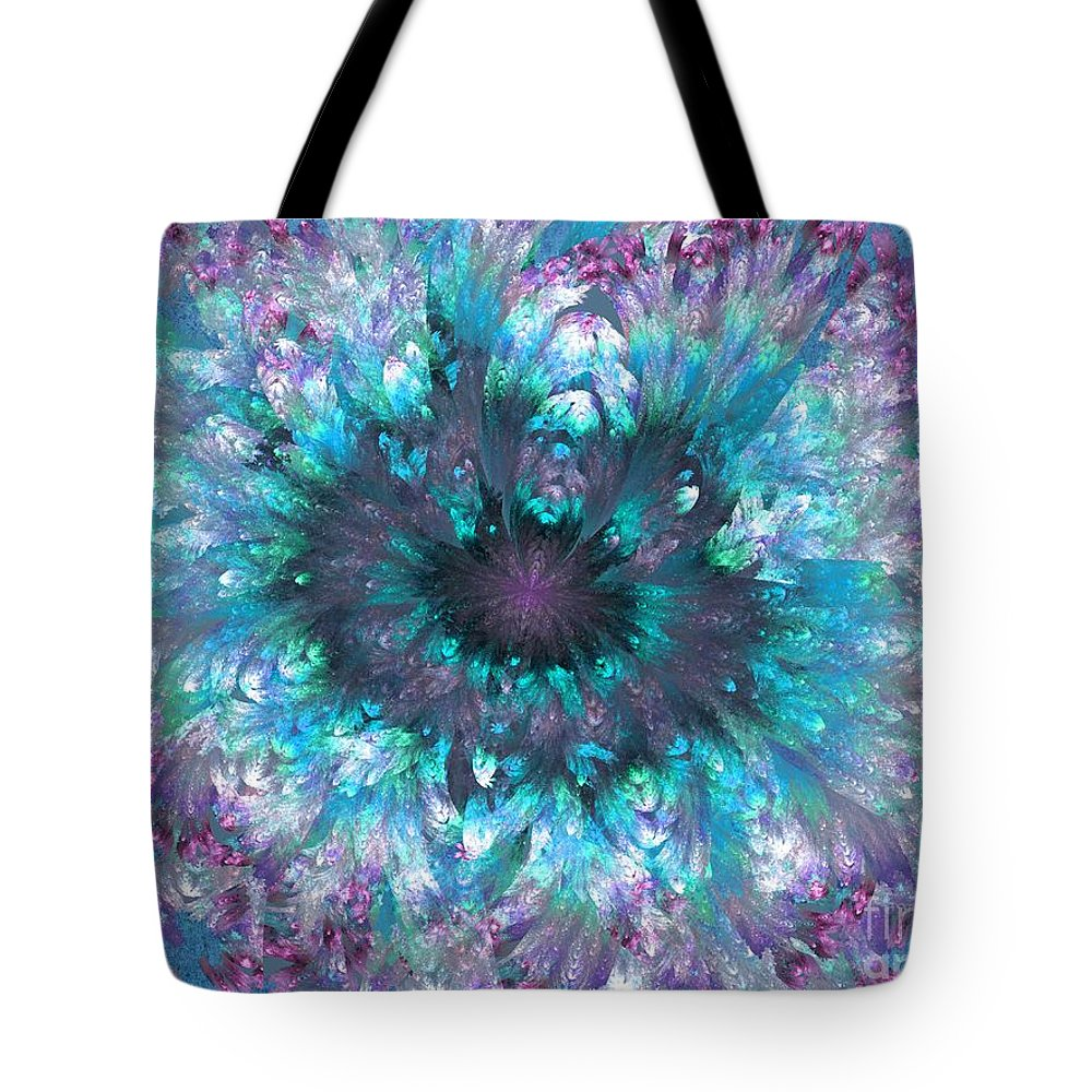 Abstract Tote Bag featuring the digital art Flower Fantasy 3 by Klara Acel