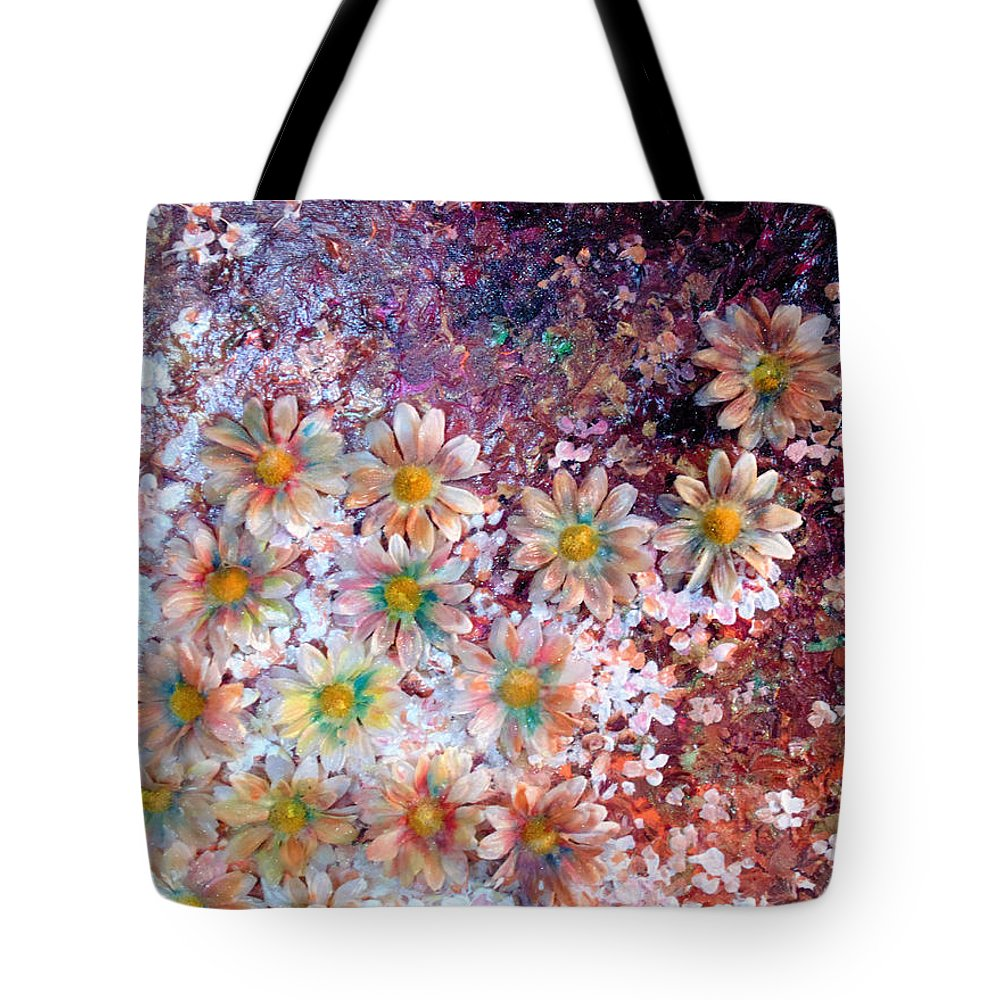 Abstract Flowers Tote Bag featuring the mixed media Flower Fantasy by Karin Dawn Kelshall- Best