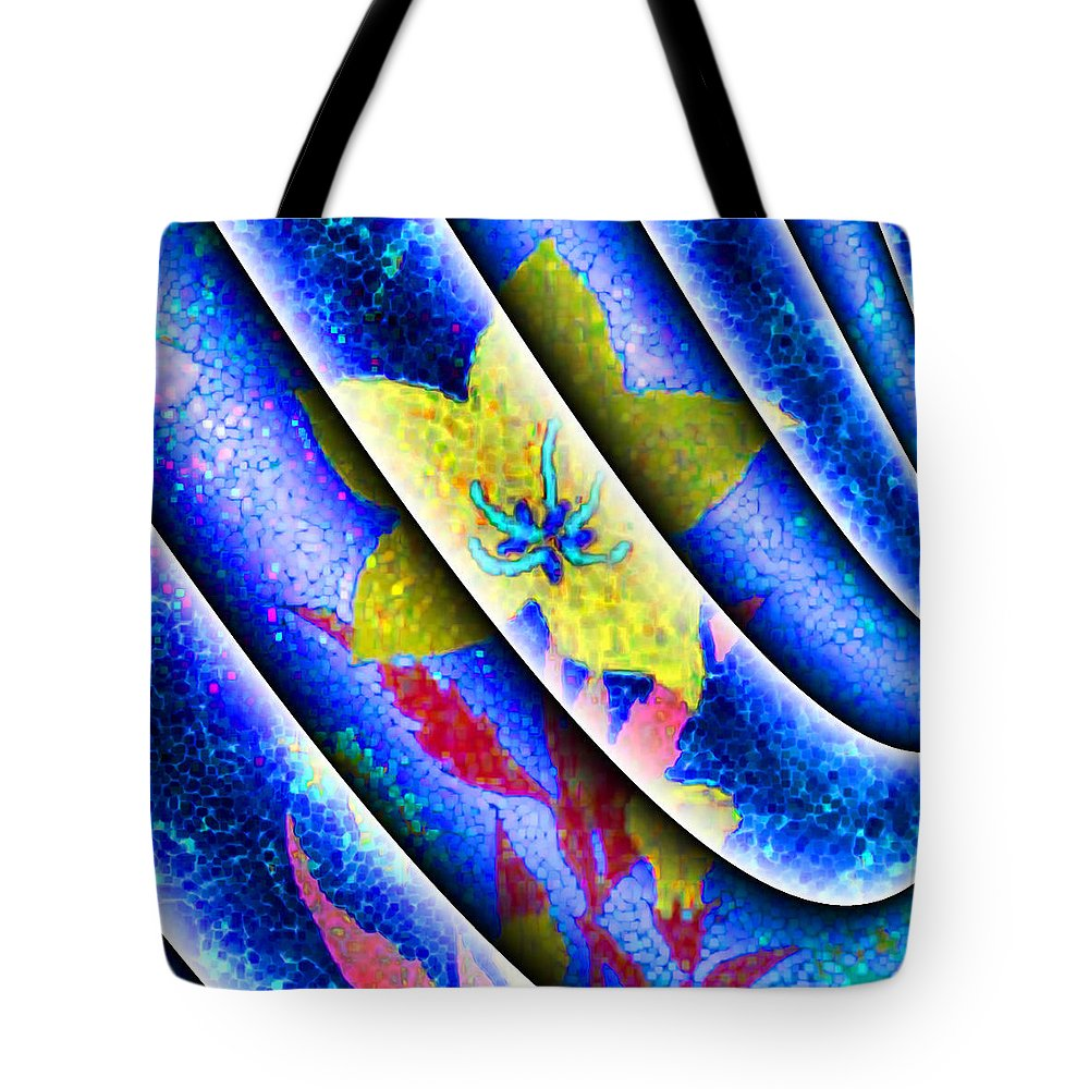 Abstract Tote Bag featuring the digital art Flower Flux by Jack Bowman