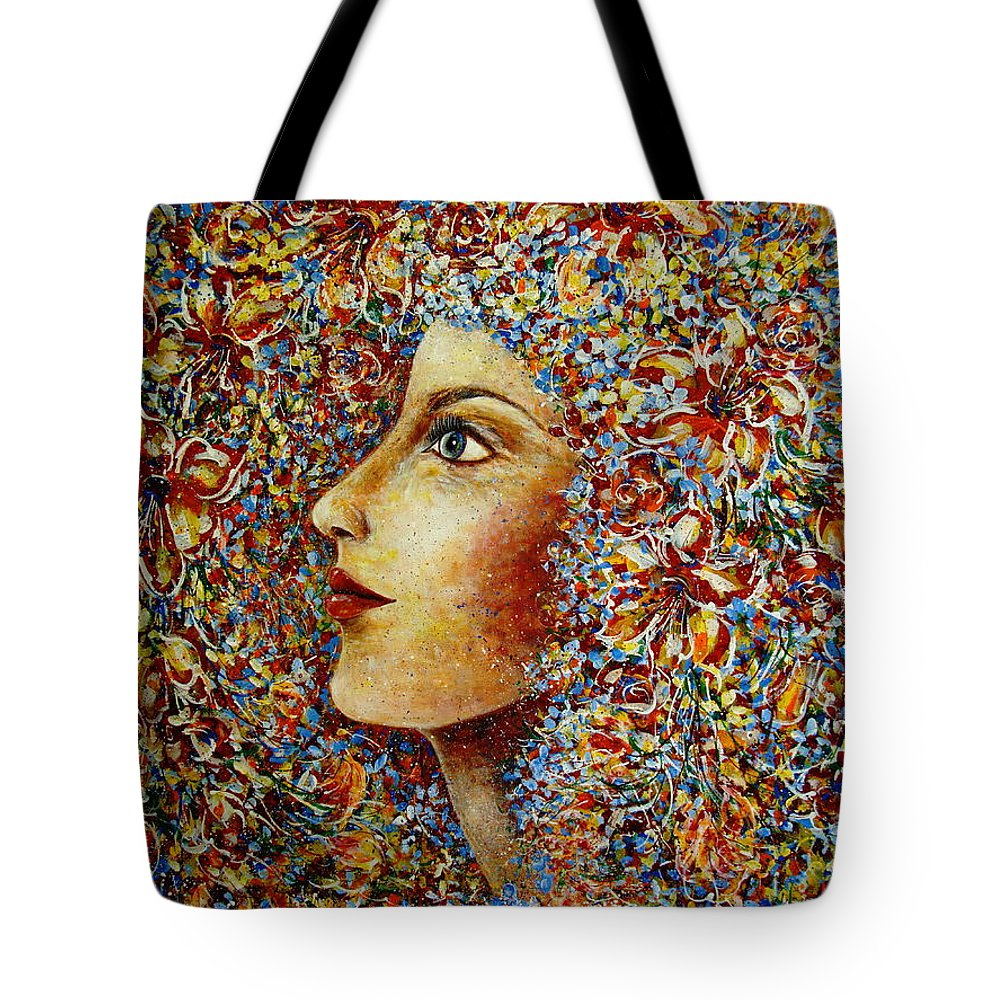 Flower Goddess Tote Bag featuring the painting Flower Goddess. by Natalie Holland