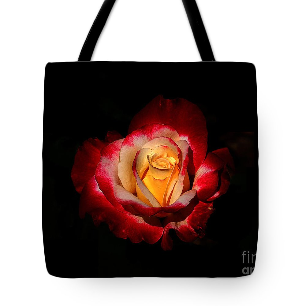 Red Tote Bag featuring the photograph Flower In Red And Gold by M Dale