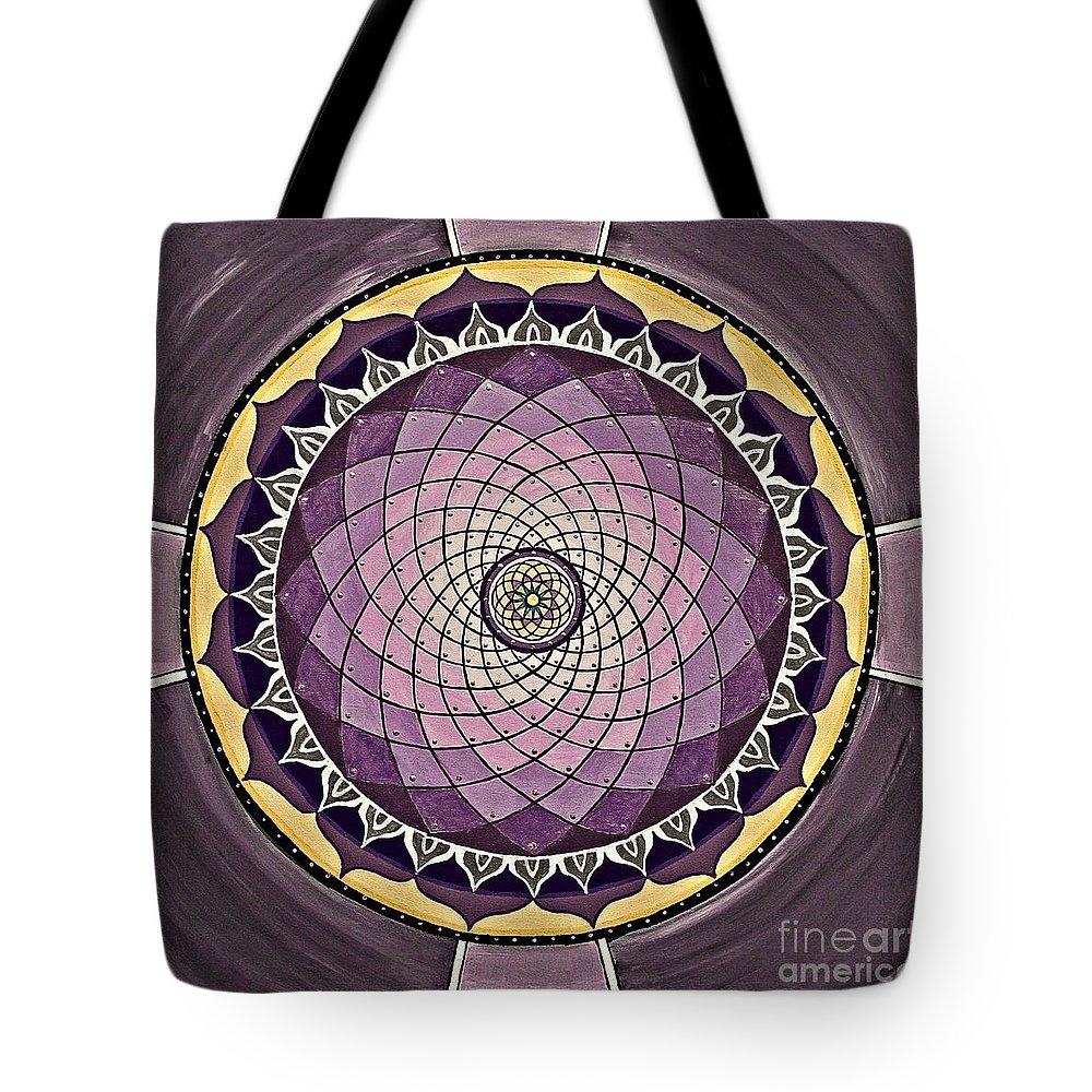 Mandala Paintings Tote Bag featuring the painting Flower Mandala by Maya B