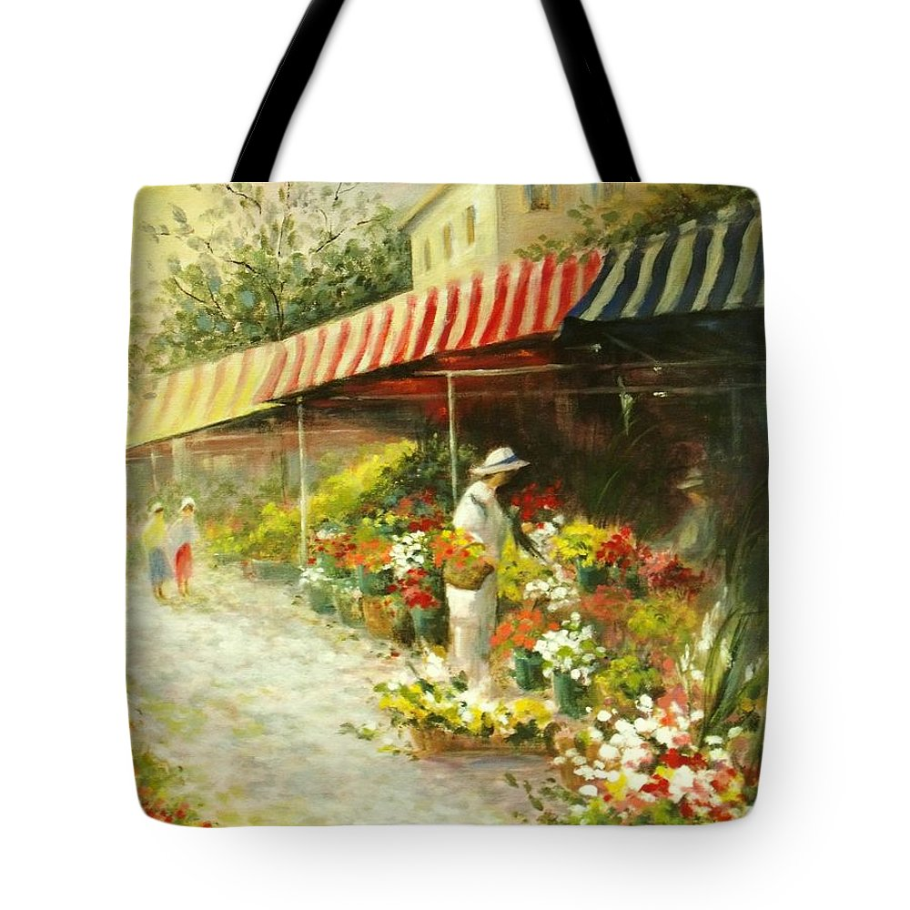 Canvas Prints Tote Bag featuring the painting Flower Market by Madeleine Holzberg