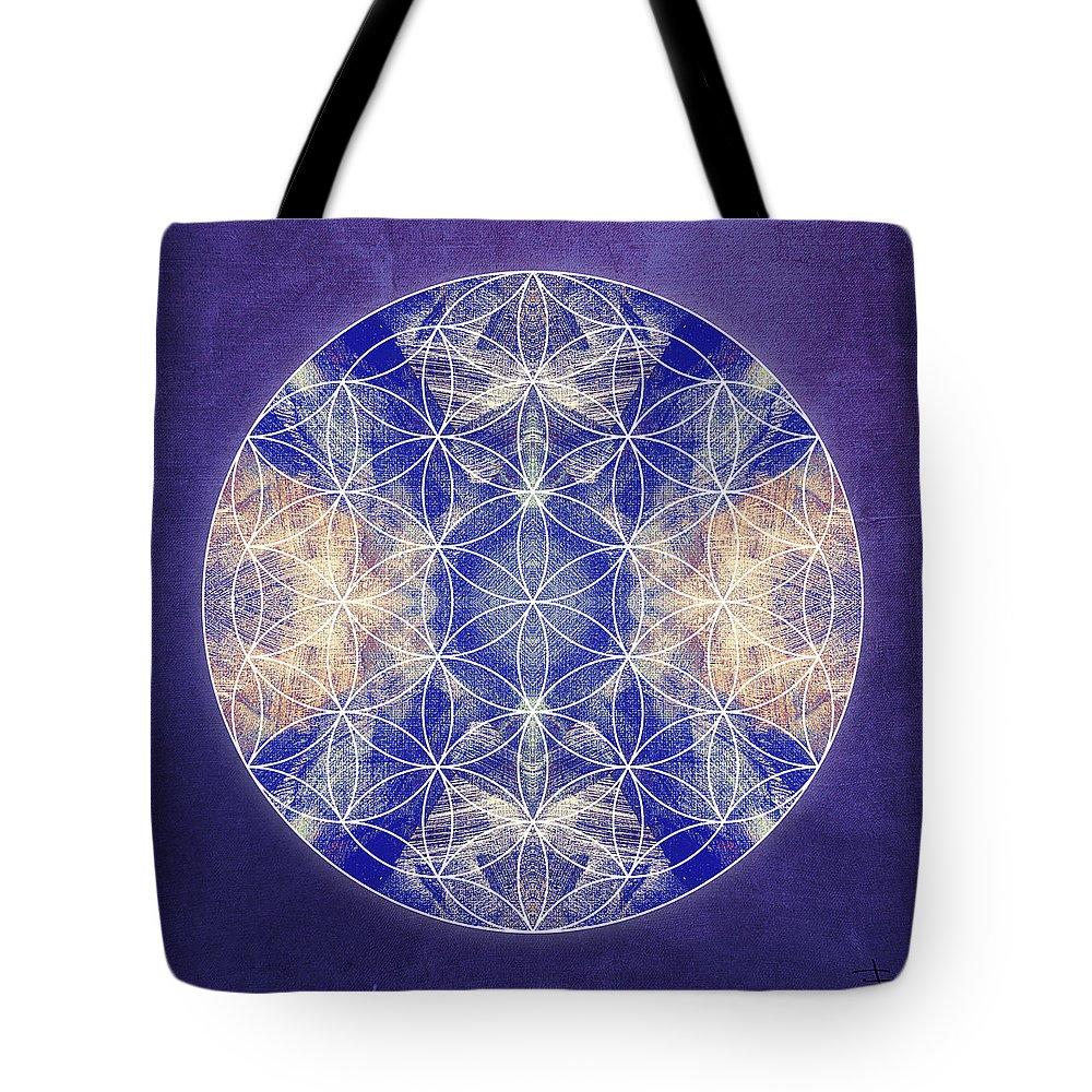 Mandala Tote Bag featuring the digital art Flower Of Life Blue by Filippo B