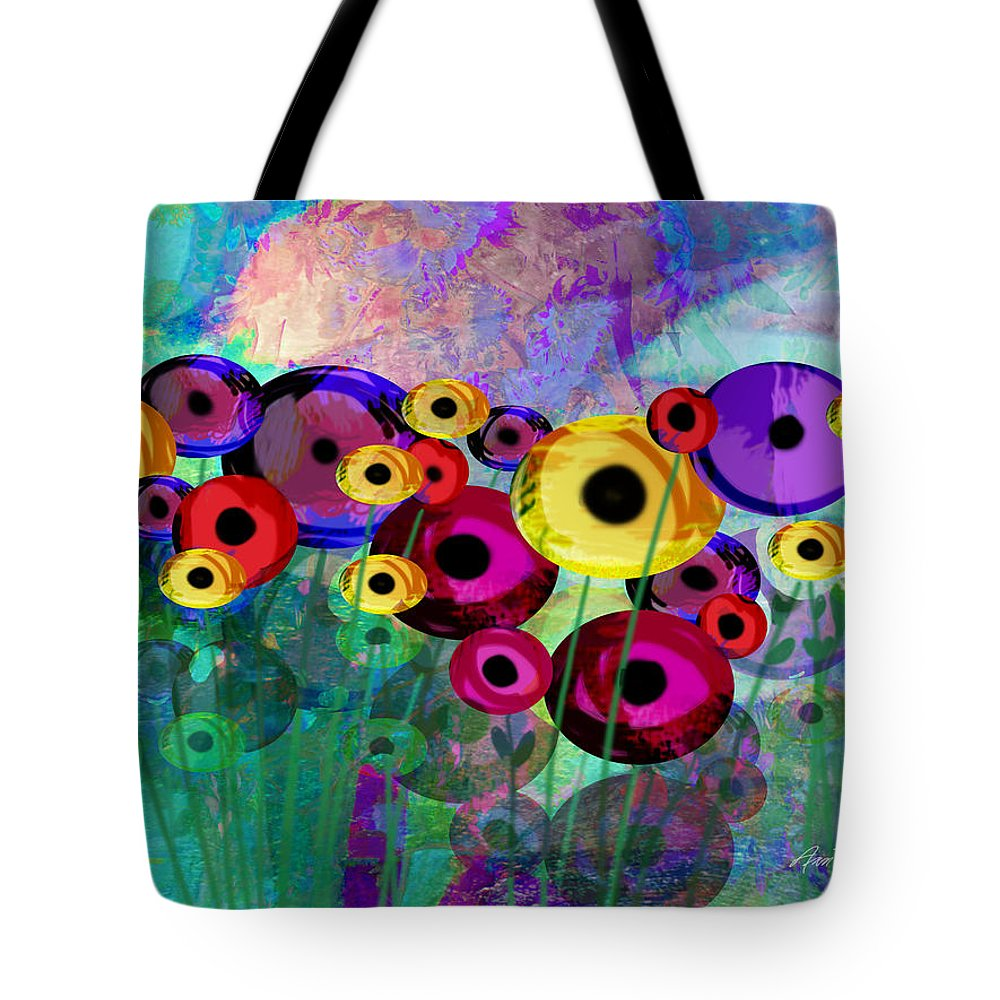Flower Tote Bag featuring the painting Flower Power Abstract Art by Ann Powell