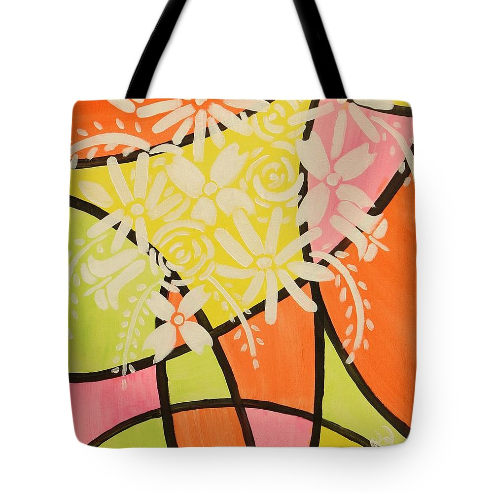 Aliya Michelle Tote Bag featuring the painting Flower Power by Aliya Michelle