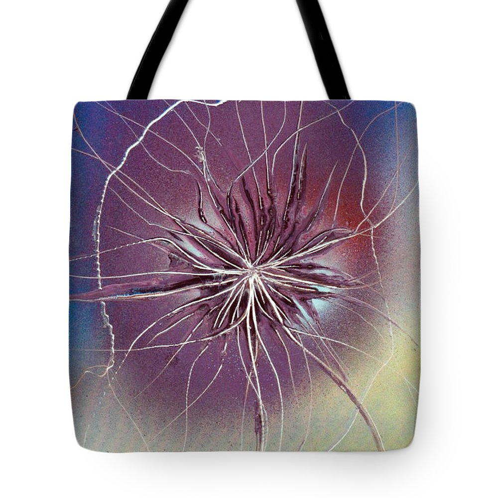 Space Tote Bag featuring the painting Flower Power by Jason Girard