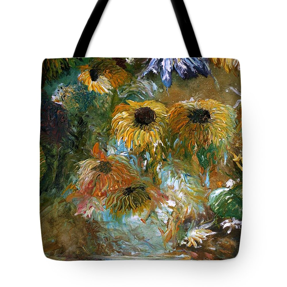 Flowers Tote Bag featuring the painting Flower Rain by Jack Diamond