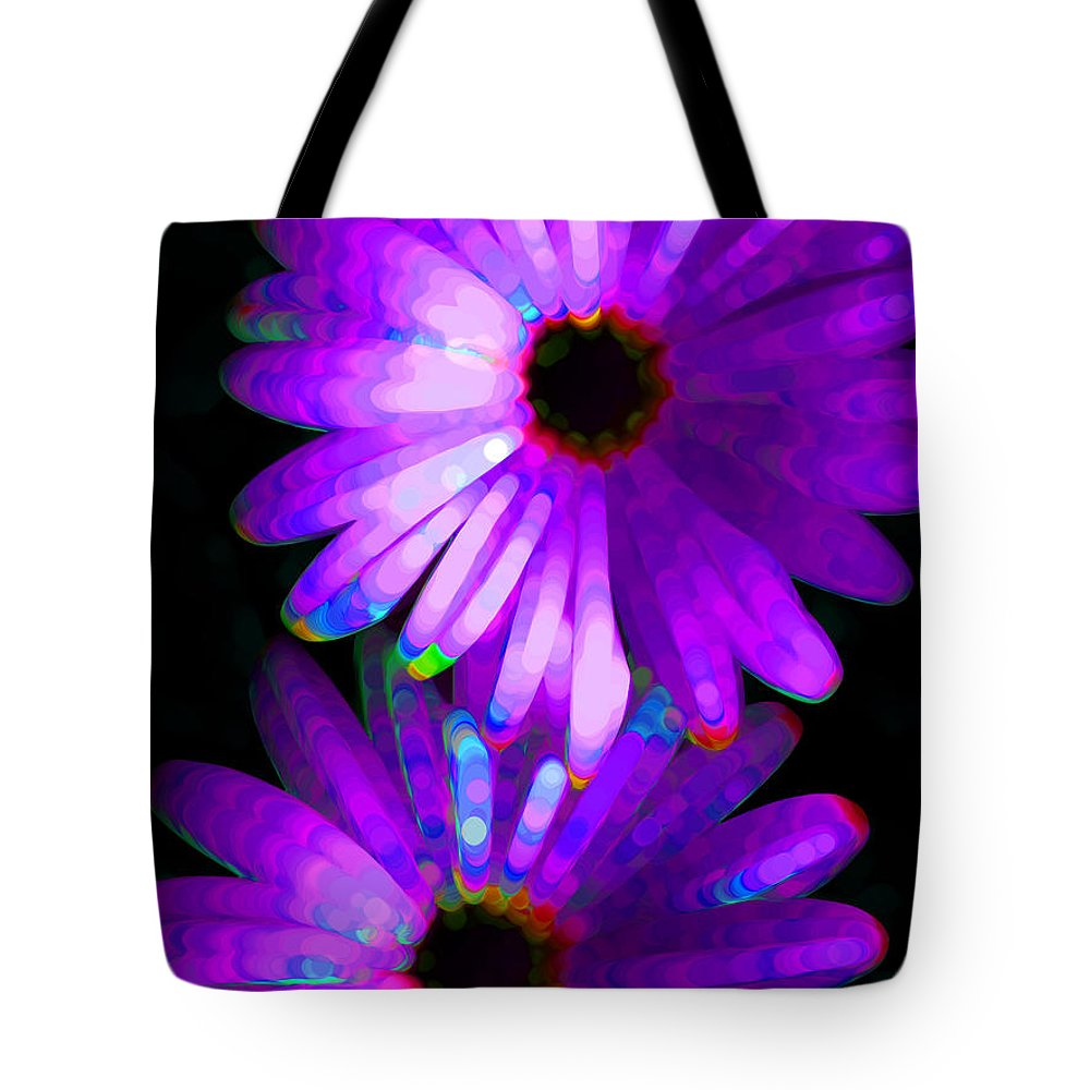 Neon Tote Bag featuring the painting Flower Study 6 - Vibrant Purple By Sharon Cummings by Sharon Cummings