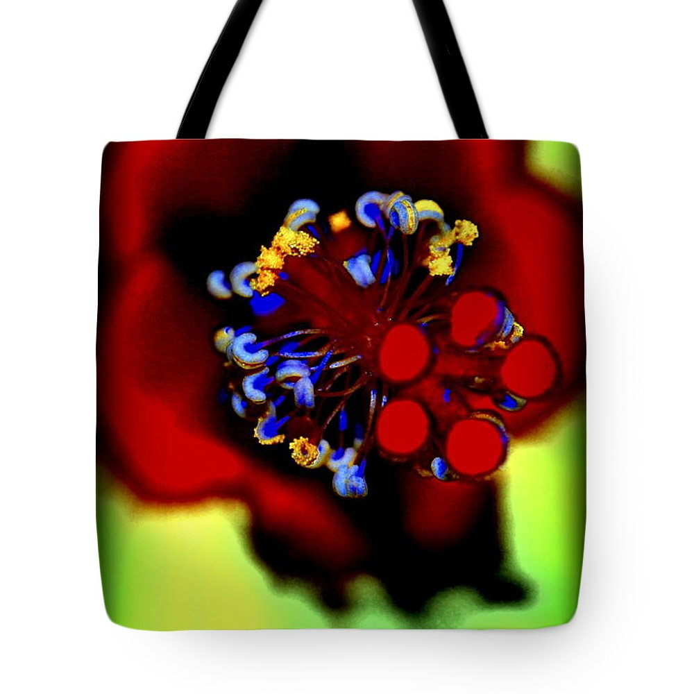 Hibiscus Tote Bag featuring the photograph Flower With'in by Kathy Sampson