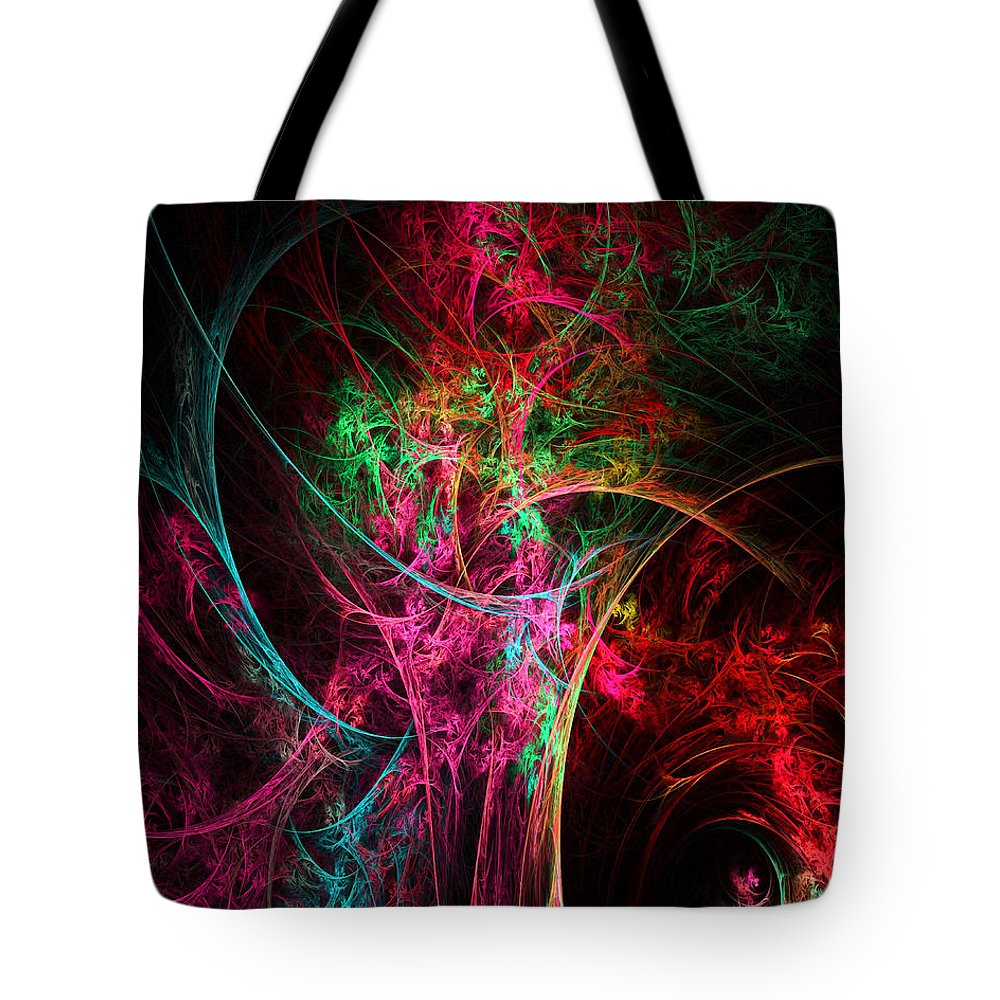 Flower In A Vase Abstract Tote Bag featuring the digital art Flowerful Vase by Lourry Legarde