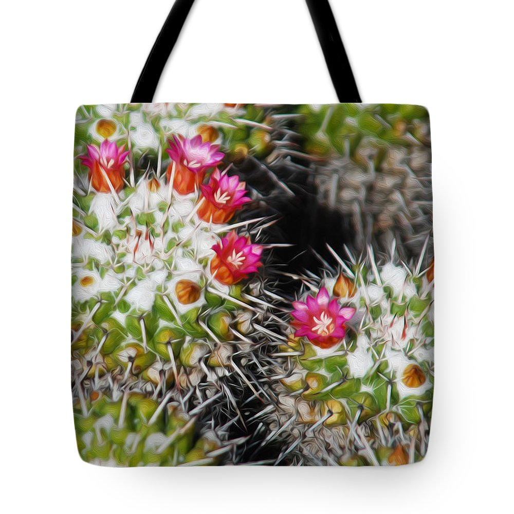 Las Palmas Tote Bag featuring the photograph Flowering Cactus by Tracy Winter