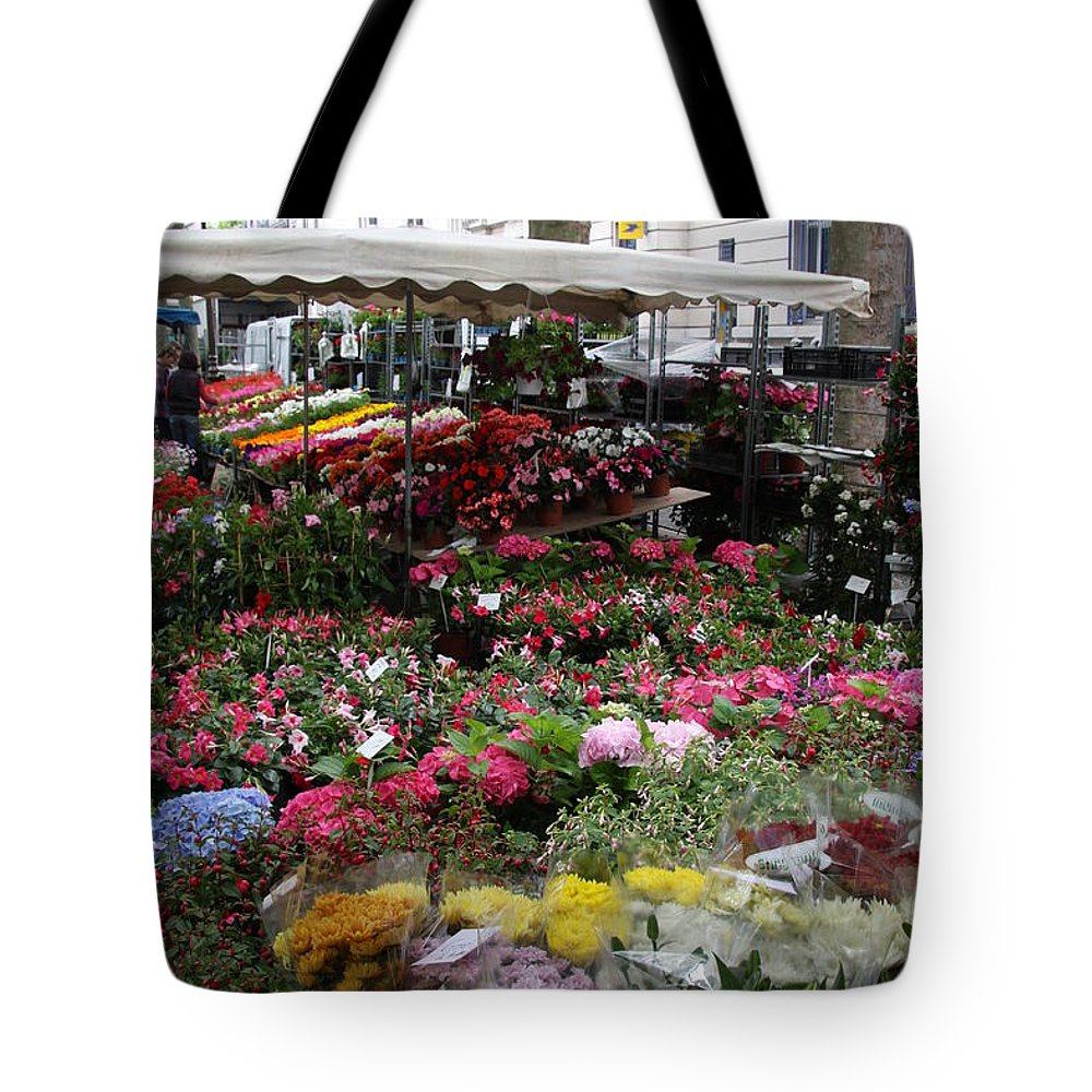 Flowermarket Tote Bag featuring the photograph Flowermarket - Tours by Christiane Schulze Art And Photography