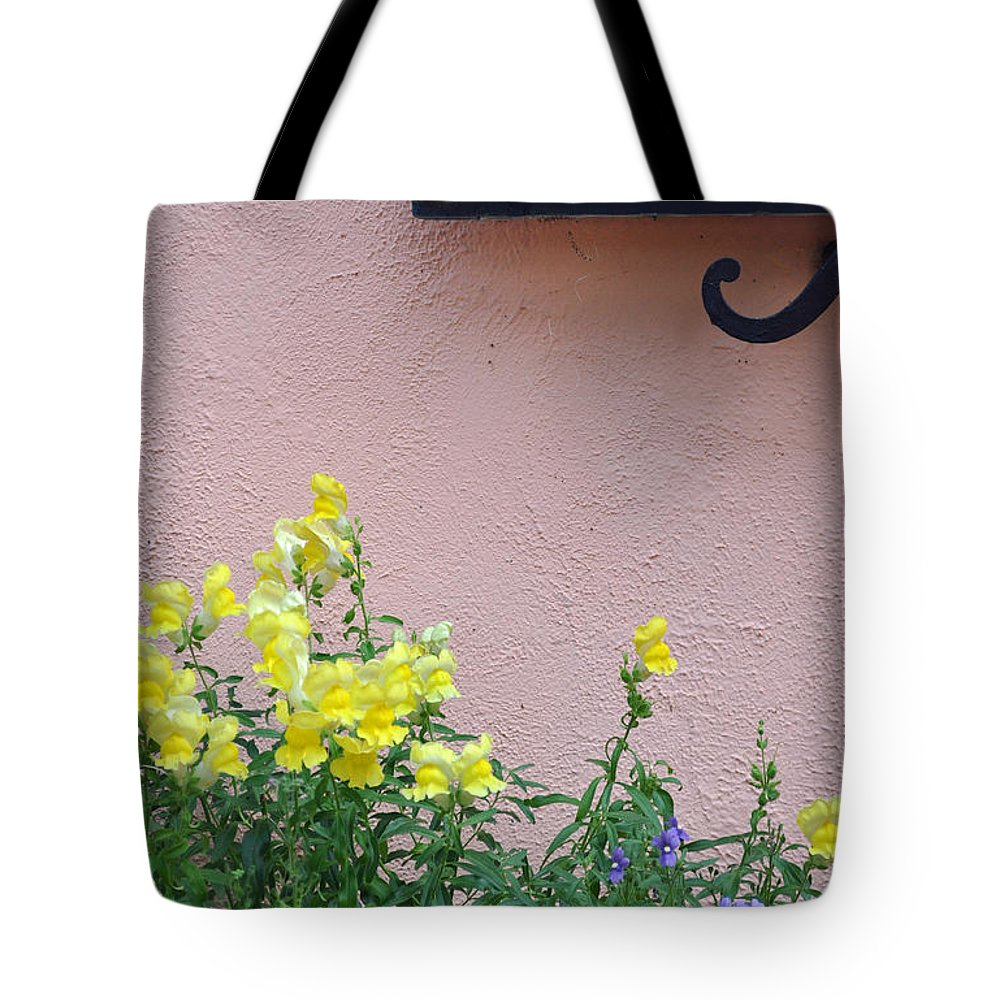 Flowers Tote Bag featuring the glass art Flowers And Window Frame by Bruce Gourley