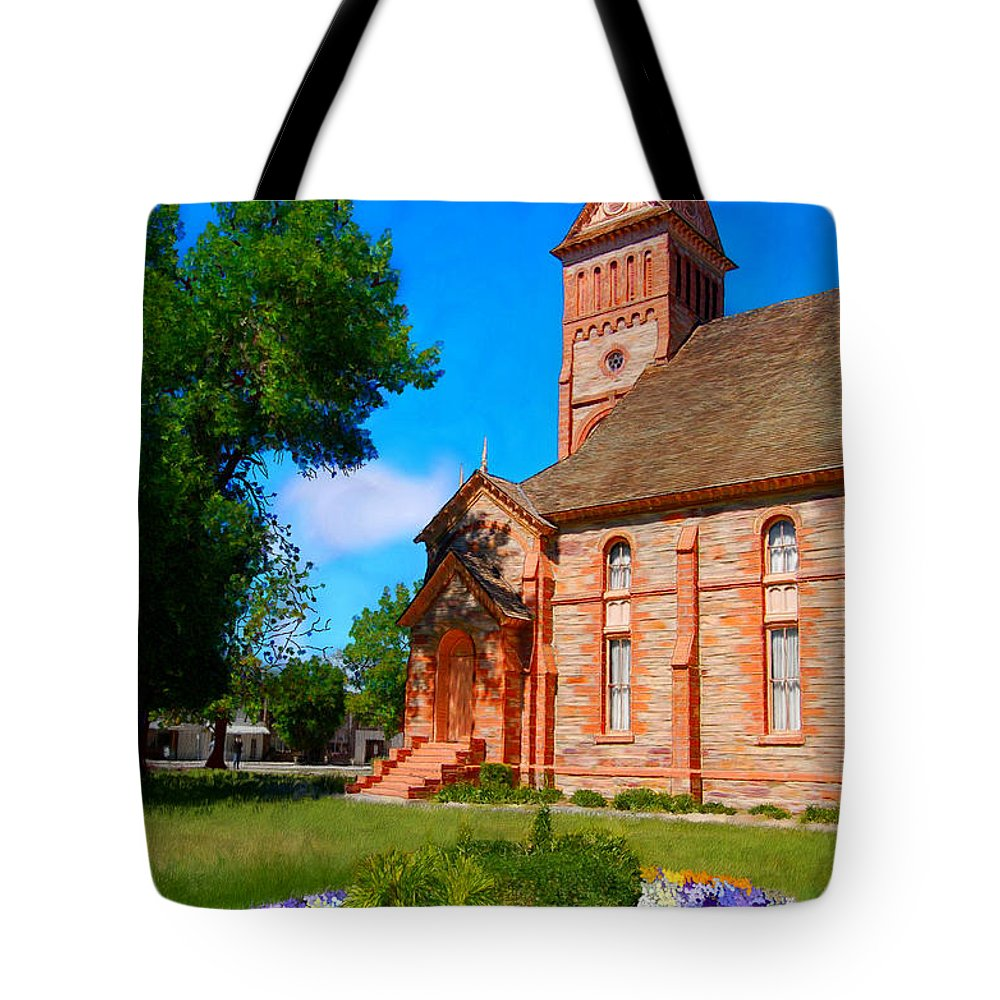 Church Tote Bag featuring the painting Flowers At The Tabernacle by Bruce Nutting