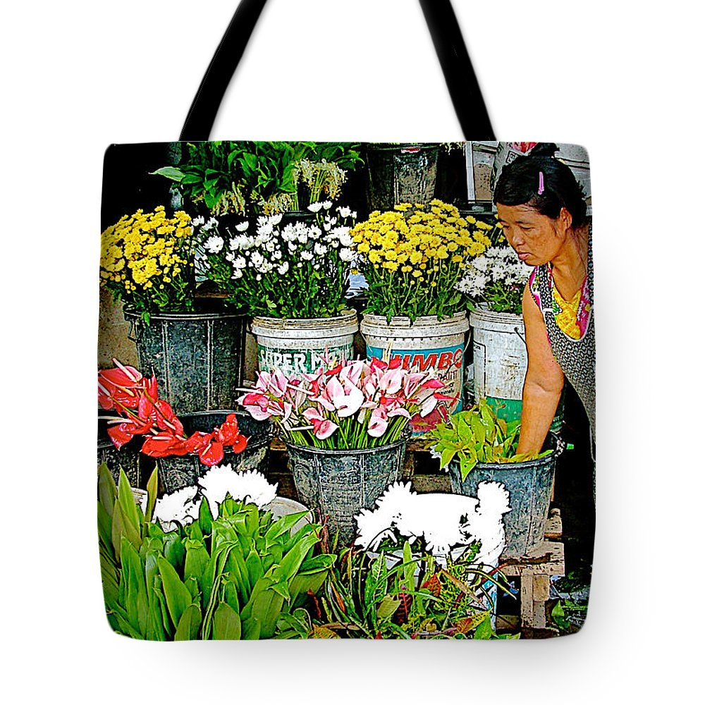 Flowers For Sale In Marketplace In Tachilek Tote Bag featuring the photograph Flowers For Sale In Marketplace In Tachilek-burma by Ruth Hager