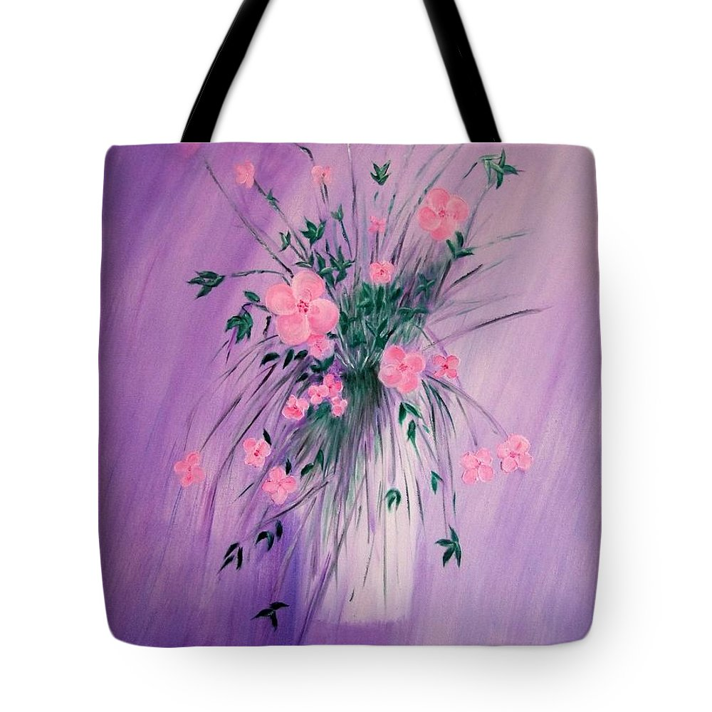 Flowers Tote Bag featuring the painting Flowers From The Field by Mary Deal